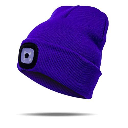 Bonnet tricoté à DEL unisexe pour l'hiver, la chasse, le camping, le barbecue, le vélo (bleu saphir)
