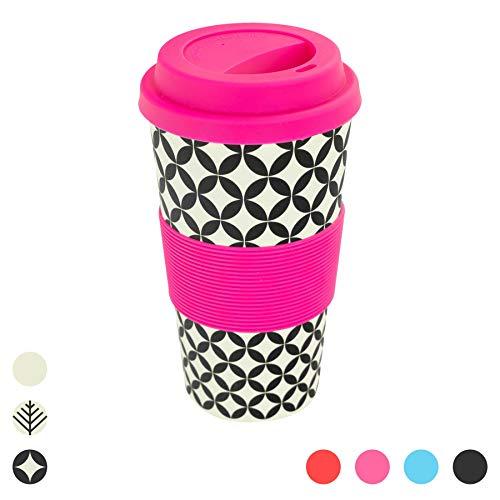 Rink Drink Mug de Voyage - respecte l'environnement/sans BPA - Bambou/Silicone - 400 ML - Diamants rétro/Rose