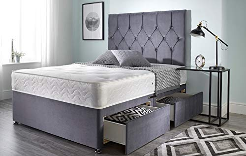 Bed Centre Ziggy Grey Plush Memory Foam Divan Bed Set With Mattress, 2 Drawers (Same Side) and Headboard (Single (90cm X…