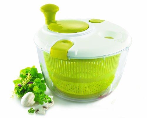 IBILI Salatschleuder Comfort mit Kurbel-Funktion 24 cm, Kunststoff, weiß/grün, 24 x 24 x 16 cm