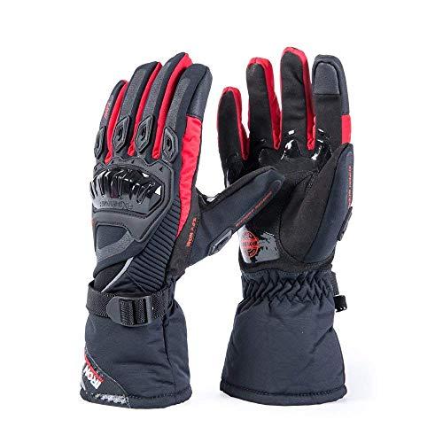 Moto Guantes de visualización Táctil Cálido De Invierno Impermeable Resistente al Viento Guantes De Protección 100% impermeable guantes Luvas, Rojo, X-large
