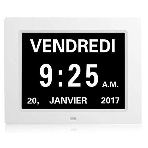 Sunsbell Digital 8 Multifunción Reloj Despertador, LCD Reloj Digital Calendario Fecha Día Hora Reloj Atenuación automática para Todos Especialmente Alzheimer y Niños