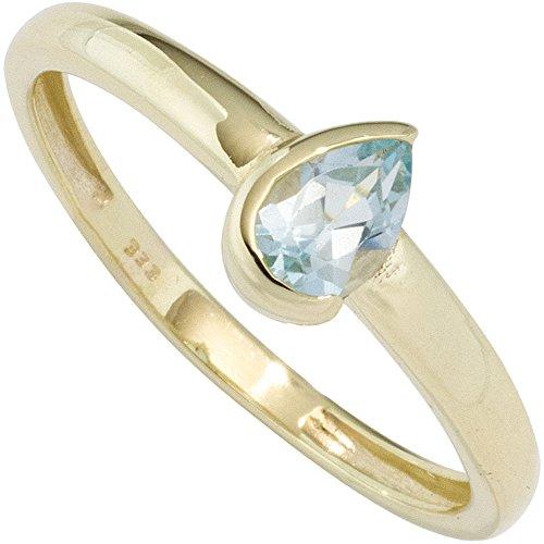 JOBO Damen Ring 333 Gold Gelbgold 1 Blautopas hellblau Goldring Größe 58