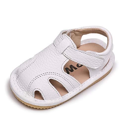 Sandalias Verano Bebé Niñas Niños Zapatos Cuero Suave de Primeros Pasos Bebé Ninos Calzado Playa Antideslizante Puntera Cerrada Bebe Ninas 18 EU,Blanco