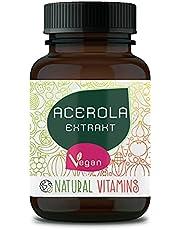 NATURAL VITAMINS® Acerola natuurlijke vitamine C I 180 veganistische capsules voor 6 maanden I 700mg Acerola per capsule I Veganistisch, hoog gedoseerd