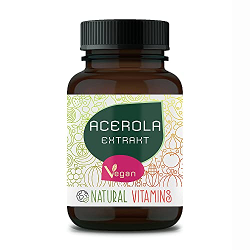 NATURAL VITAMINS® Acerola natürliches Vitamin C I 180 vegane Kapseln für 6 Monate I 700mg Acerola je Kapsel I Laborgeprüft, Vegan, hochdosiert, produziert in Deutschland