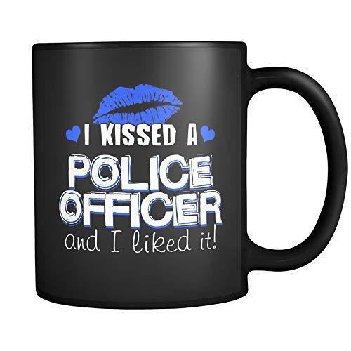 I Ki-ssed a oficial de policía y me gustó Lips Heart Black Mug-11OZ Coffee Mug