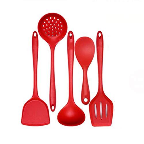 LILANPING- Silikon Küchenutensilien 5-teiliges Set, Kochutensilien Set Hohe Temperaturbeständigkeit, Keine Beschädigung des Topfes, Leise, Geruchsneutral, Leicht Zu Reinigen (Color : Red)