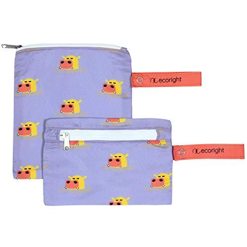 Bolsa reutilizable para sándwiches/bocadillo - Paquete de 2 bolsas de almuerzo lavables de doble capa - Fácil de limpiar - tejido de plástico reciclado   Hipopótamos