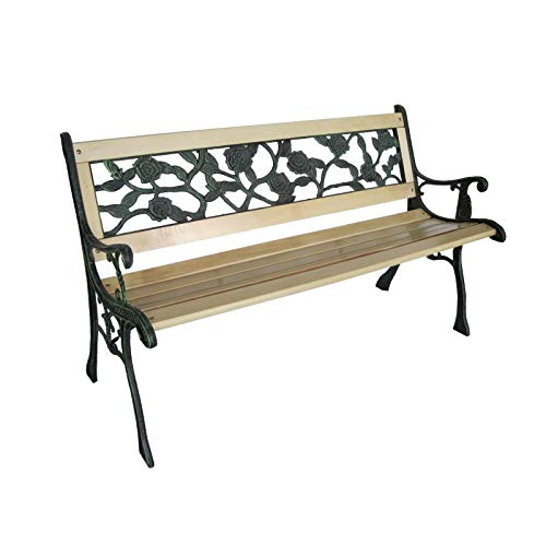 HYGRAD Outdoor Wooden Bench Rose Design 3 Seater Garden Bench Park Seat With iron Legs