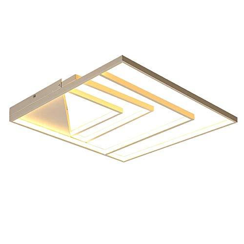 Luz de Techo LED Regulable sin escalonamientos Lámpara de Techo de diseño Cuadrado de 4 Anillos para Dormitorio Sala de Estar Cocina Comedor Sala de Estudio iluminación con Control Remoto