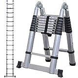 Power-on 折りたたみ脚立 伸縮はしご アルミ製 はしご兼用脚立 コンパクト 折り畳み 梯子 スライド式 安全ロック 国内メーカー保証 日本語説明書付き DN-FSL (5.0m)