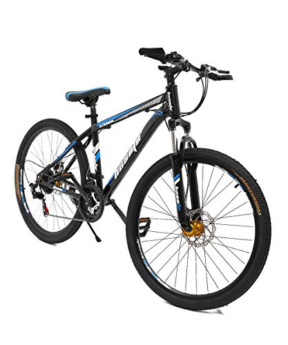 hosote 26 Inch Mountain Bikes with Suspension Fork, 21 Speed High-Tensile Carbon Steel Frame MTB with Dual Disc Brake for Men and Women