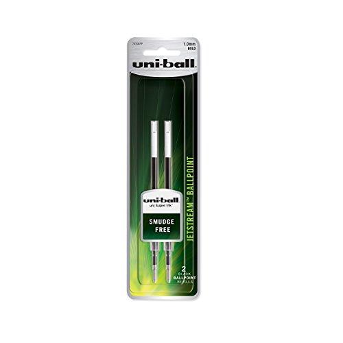 uni-ball Jetstream Ballpoint Pen Refills, Bold Point (1.0mm), Black, 2 Count