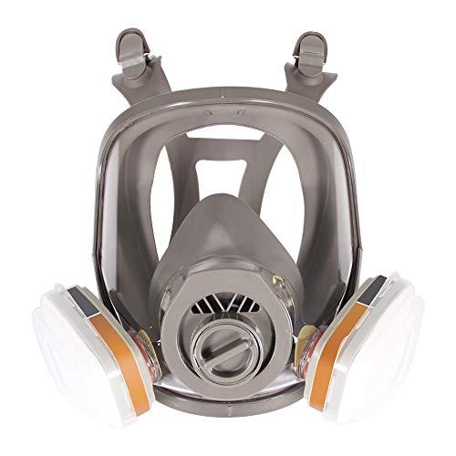 Máscara de respirador de cara completa, Casco de protección facial para pulverización de pintura, Vapor orgánico y polvo, Dos tipos de conectores