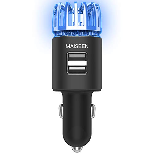 Car Air Purifier Ionizer, MAISEEN Car Air Freshener with USB Car Charger 2-Port Eliminate Smoke Smell, Pet and Food Odors for Car,Black