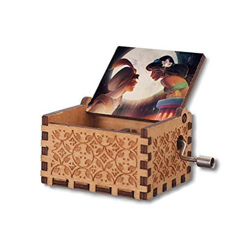 Logazi Couple Kissing A-la-dd-in Wood Music Box of Gift, Hand Crank Musical Boxes Mechanism Antique Vintage Personalizable for Wife, Husband, Daughter, Son, Boyfriend, Girlfriend