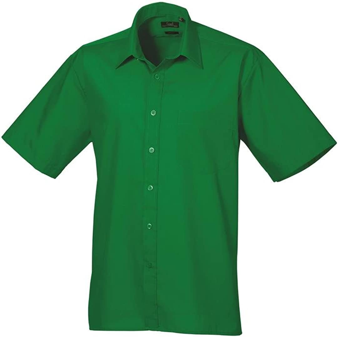 Premier Men's Formal Poplin Short Sleeve Shirt Emerald 16
