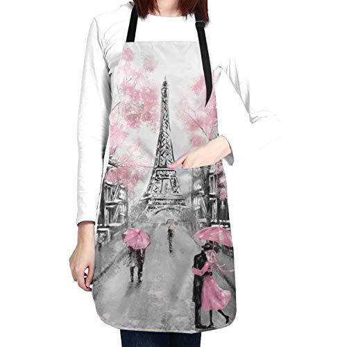 wodealmug Women Pink Paris Street Apron Adjustable Neck Kitchen Bib Cook Apron with Pocket for Cooking Baking Gardening