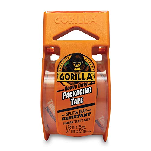 """Gorilla Heavy Duty Packing Tape with Dispenser for Moving, Shipping and Storage, 1.88"""" x 25 yd, Clear, (Pack of 4)"""