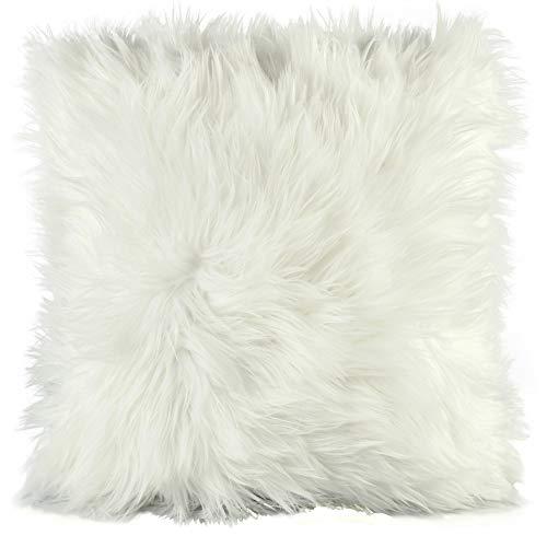 CelinaTex Cuddly Dekokissen 45 x 45 cm weiß Langhaar Zierkissen dekoratives Fellimitat Nicki Sofakissen Kunstfell Kissen