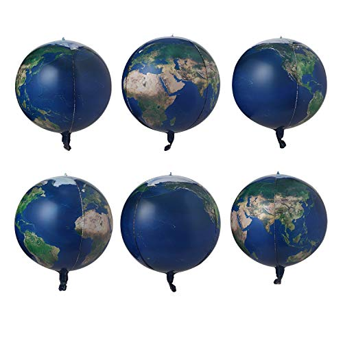 6 Count 22 inch Earth Balloons Sphere World Map Balloons Planet Printing Mylar Globe Balloons Foil Balloon For Teaching Space Theme Party Decoration