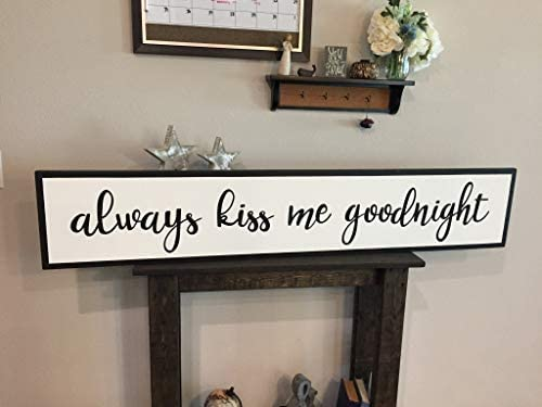 Dozili Framed Insert Style Wood Always Kiss Me Goodnight Sign Rustic Shabby Chic Over Bed Wood product image