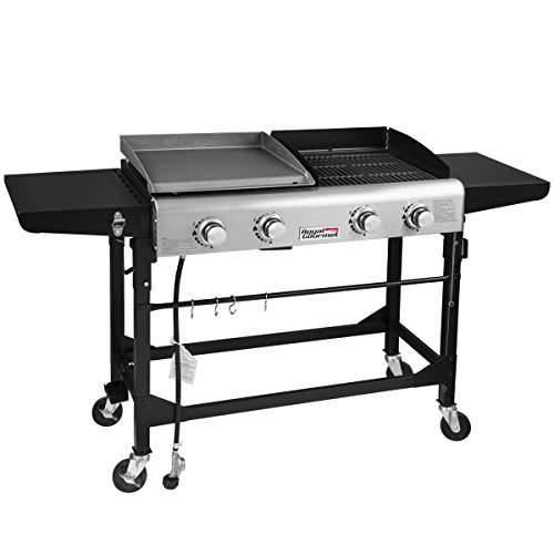 Royal Gourmet Portable Propane Gas Grill and Griddle Combo,4-Burner,Griddle Flat Top, Folding...