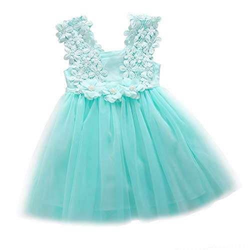A-myt' Seguro y cómodo Bebé Flor Chica Vestido Princesa Encaje Tul Tul Halter Vestido cortesía Fiesta Traje Lindo y Animado (Color : Mint, Size : 7T)