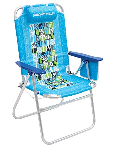 "Margaritaville Outdoor Big Shot High and Wide Folding Beach Chair - Turquoise, 25.25"""" x 27"""" x 42.25"""""" (SC453MV-501-1)"