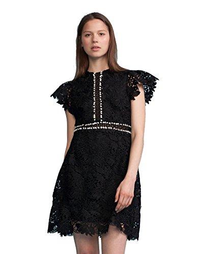 Cynthia Rowley Women's Short Sleeve Lace Dress, Black, 10