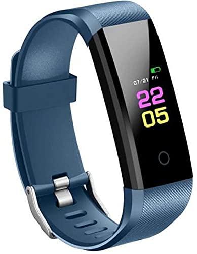 AMBM Pulsera deportiva Bluetooth unisex con pantalla táctil de color y frecuencia cardíaca, presión arterial, resistente al agua, reloj inteligente para Xiaomi iPhone (color negro), azul