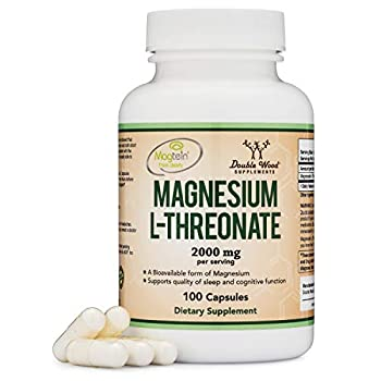 Magnesium L Threonate Capsules  Magtein  – High Absorption Supplement – Bioavailable Form for Sleep and Cognitive Function Support – 2,000 mg – 100 Capsules