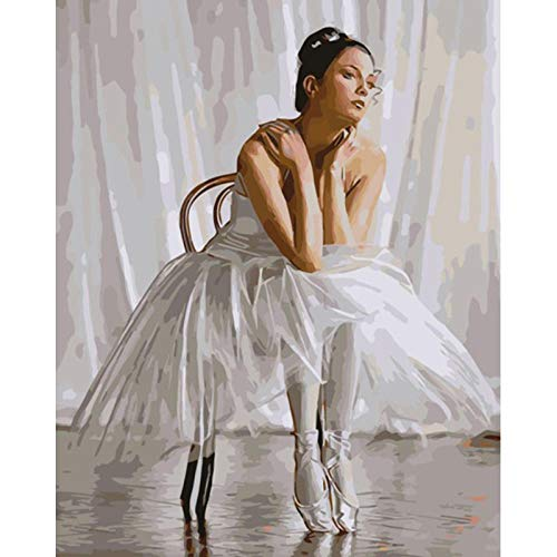 Diy Pintura Al Óleo Digital Hermosa Figura De Bailarina De Ballet Digital Pintura Al Óleo Regalo Para Adultos Niños Pintura Por Numero Kits Decoración Del Hogar 16X20 Inch
