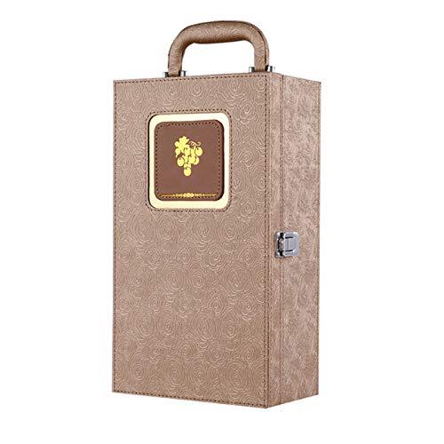 TWW Caja De Regalo De Vino Caja De Cuero Doble Caja De Embalaje Caja De Regalo Caja De Vino Paquete De 2 Regalo De Cumpleaños Hombres Y Mujeres