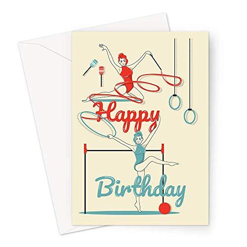 Happy Birthday Gymnastik Grußkarte   Turner durchführen mit Band und Kreolen Happy Birthday Karte, Hobby Geburtstagskarte für Turner