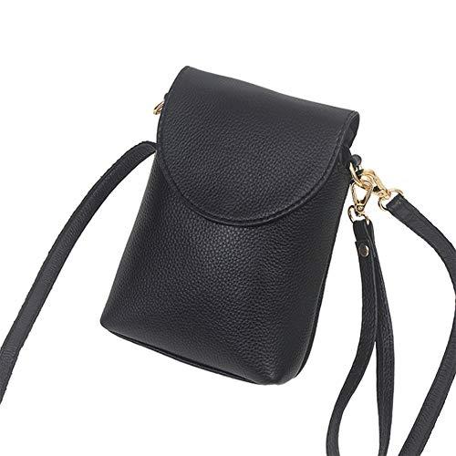 KangHan Bolso De Cuero para Teléfono Móvil De Moda Vertical para Mujer Pequeño Bolso para Teléfono Móvil Adecuado para iPhone 8 Plus O Teléfono Móvil Más Pequeño De 6.5 Pulgadas,Negro