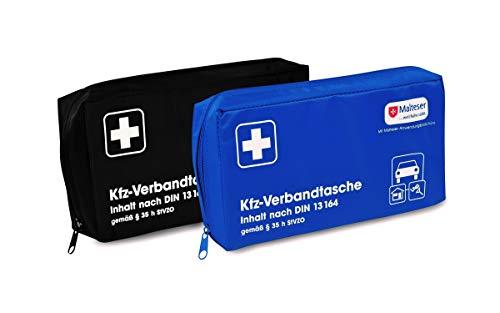 *Kfz-Verbandtasche Auto Verbandkasten mit Malteser Anwendungsbroschüre DIN 13164 (Schwarz)*