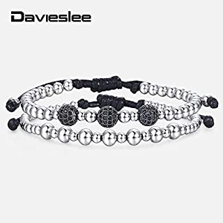 Regeek Strand Bracelets - Beaded Bracelets for Men Stainless Steel Beads Black CZ Silver Double Chain Mens Bracelet Jewelry Adjustable Length LDB175