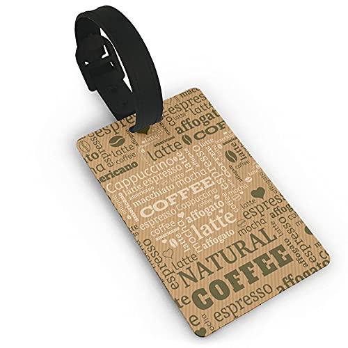Etiquetas para bebidas de café en color marrón pálido, etiquetas de Lage para maletas, Accories de viaje PVC Lage Bag Tags, adecuado para viajes deportes Backk decoración