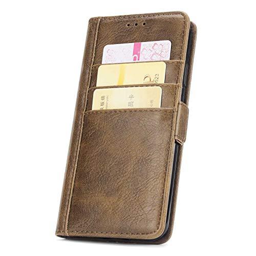 DENDICO Coque iPhone XS Max, Premium Flip Housse Portefeuille Magnétique en Cuir avec Logements de Carte pour Apple iPhone XS Max - Marron