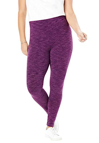 Woman Within Women's Plus Size Marled Stretch Legging - 4X, Plum Purple Marled