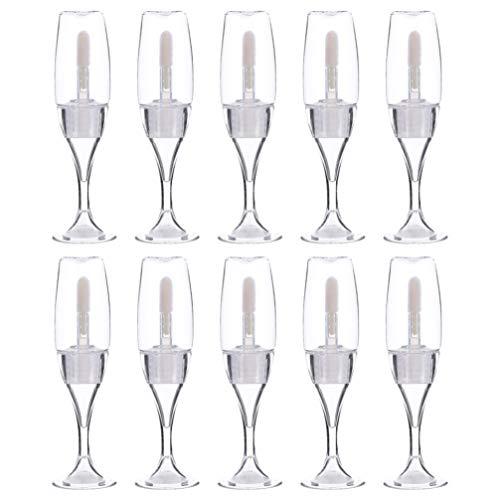 FRCOLOR - Lote de 10 botellas de labios transparentes, vacías, para labios, tubo recargable con consejo de labios y muestras de aceite, botellas de vino de cristal