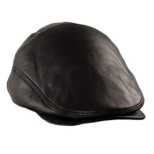 Dazoriginal Boina Cuero Casquillos Plano Gorra Piel Gatsby Sombrero Hombre Beret 55-64CM (Negro 59-64cm)