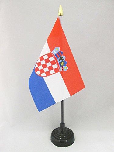 AZ FLAG Bandera de Mesa de Croacia 15x10cm - BANDERINA de DESPACHO CROATA 10 x 15 cm Punta Dorada