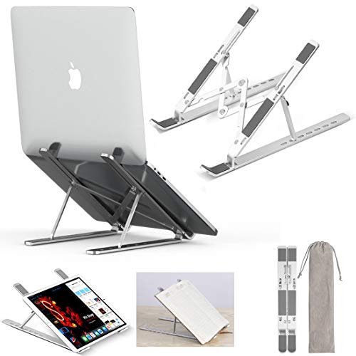 MOGLION Adjustable Laptop Stand for Desk, Portable Laptop Stand Adjustable Laptop Riser Holder Foldable, Improved Aluminum Alloy Computer Stand for Laptop up to 17.3', Supports 55lbs, Rise Height 6'