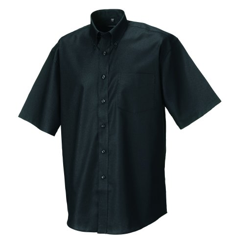 Z933 Kurzärmeliges Oxford Hemd Oberhemd Herrenhemd 6XL / 53/54,Black