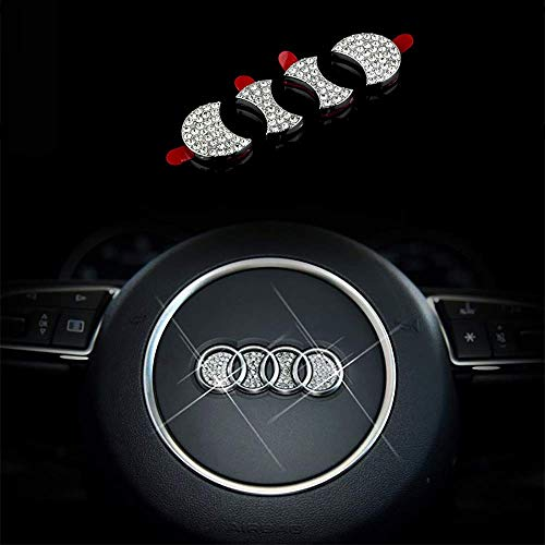 Bling Bling Car Steering Wheel Emblem Decorative Diamond Accessories Sticker Compatible With A U D l,DIY Bling Car Steering Wheel Emblem Bling Accessories