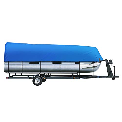 iCOVER Trailerable Pontoon Boat Cover, Fits 21 to 24ft Long & Beam Width up to 102in Pontoon Boat with Storage Bag, Heavy-Duty Waterproof Stormproof, Fade-Resistant Polyester, Blue