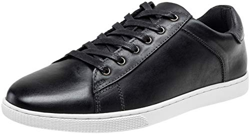 JOUSEN Men's Leather Sneakers Fashion Dress Sneaker Business Casual Shoes for Men (MY852 Black 10.5)